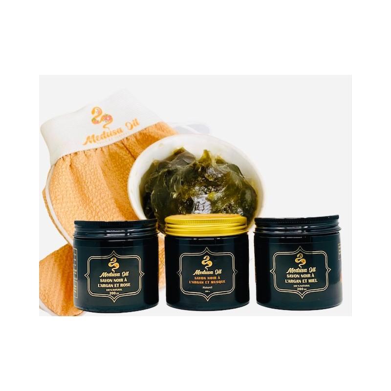 Jabón negro y guante Kessa  Medusa Oil Fregar