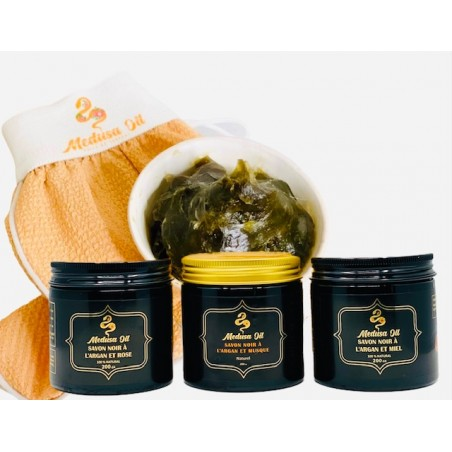 Black Soap and Kessa Glove  Scrub Medusa Oil